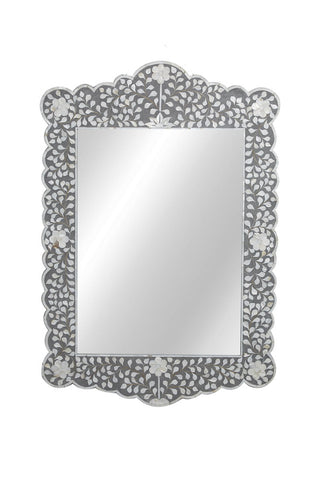 Zaylee Mother of Pearl Inlay Scalloped Mirror Floral Taupe and Grey