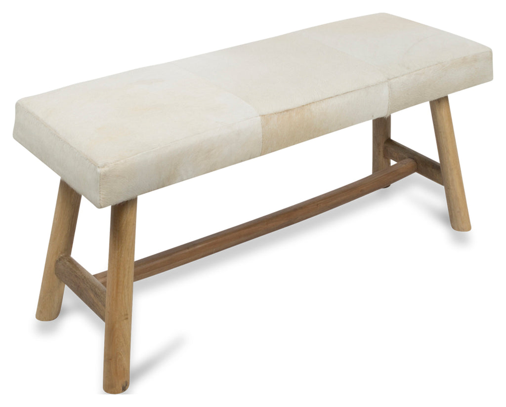 Two Seater Cow Hide Bench