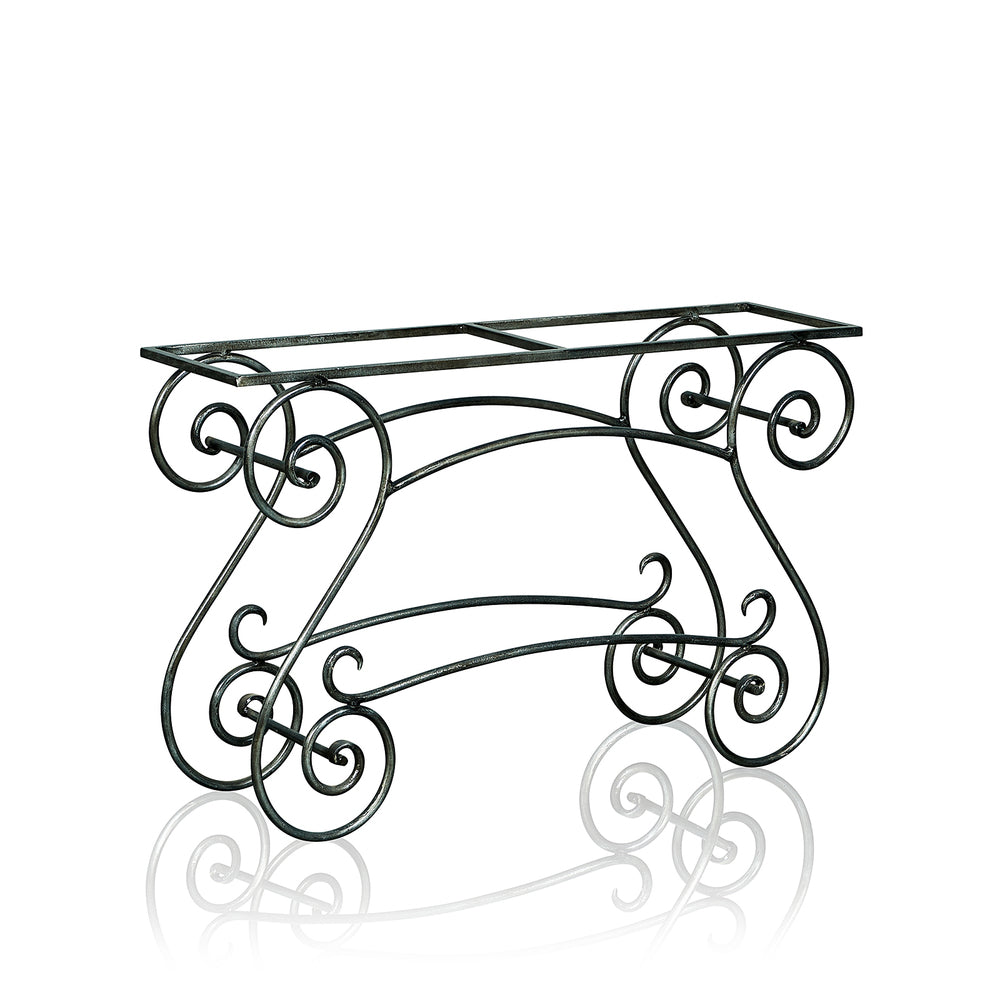 Garden Wrought Iron Console With Marble Top