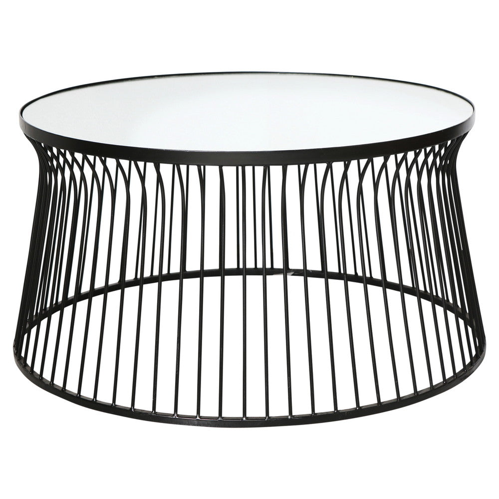 Spun Metal Round Mirrored Coffee Table Black