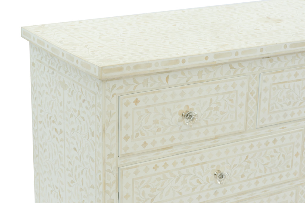 Cordelia Bone Inlay 3 Drawer Chest Floral White