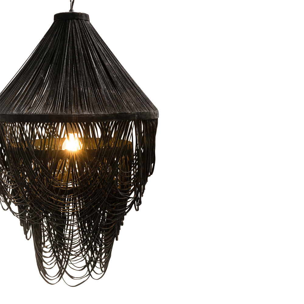 Yumi Black Suede Leather Chandelier