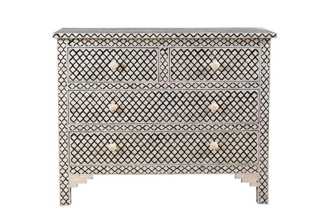 Arabesque Bone Inlay 4 Drawer Chest Black