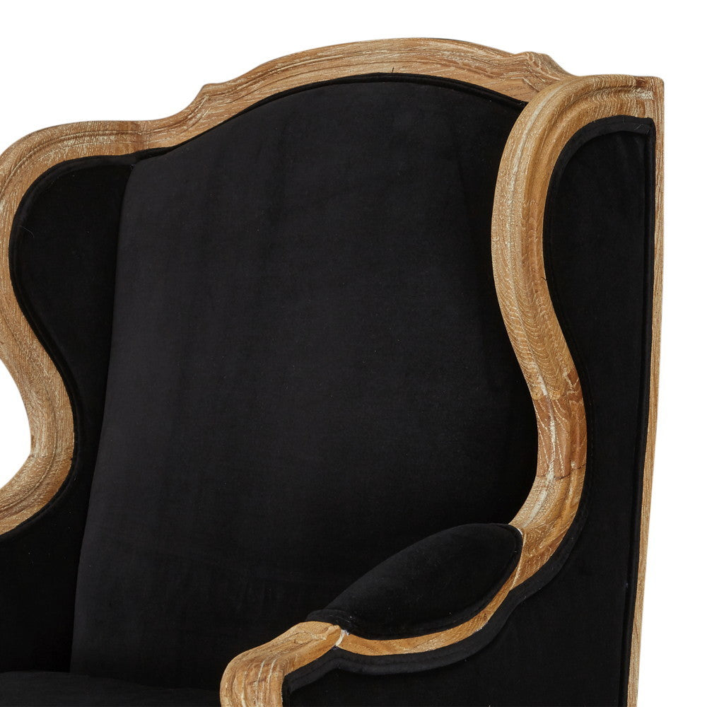 Louis XV Bergere Oak Wing Chair Black Velvet