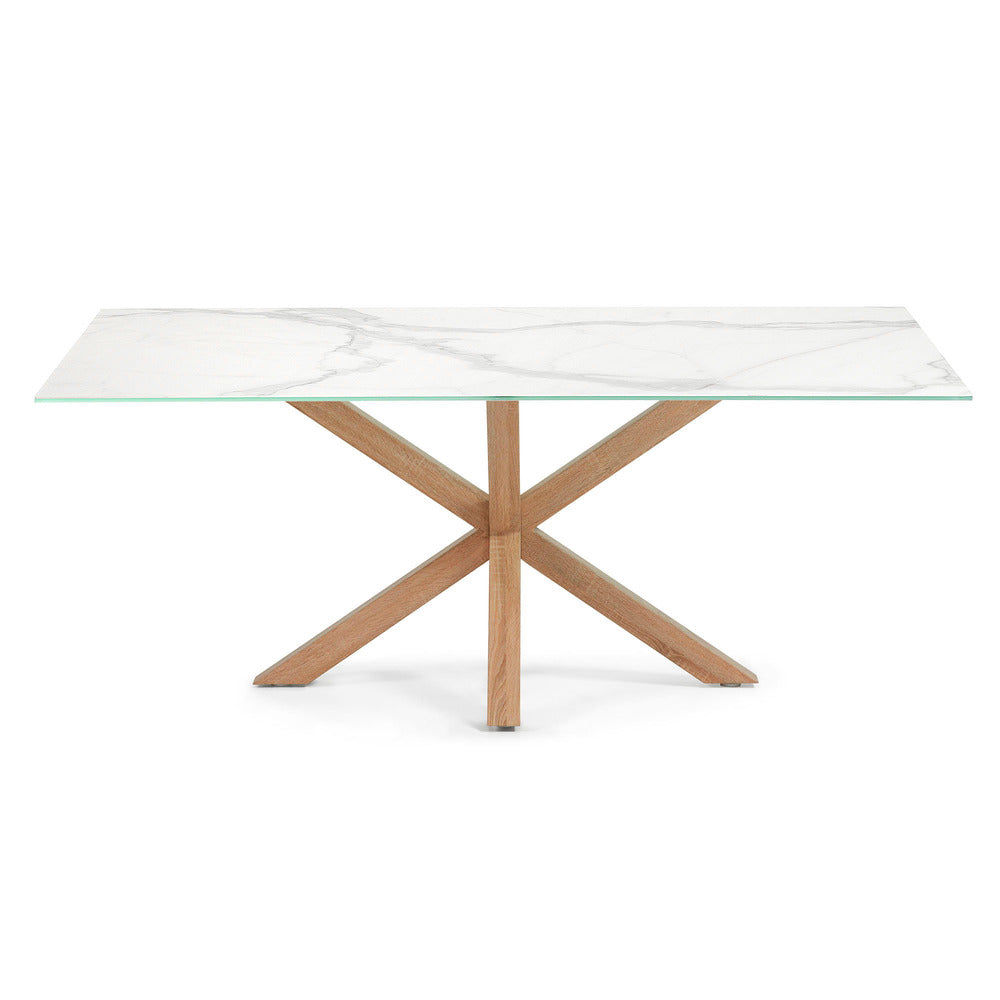 Masa Dining Table Natural Legs with Kalos White Ceramic Top