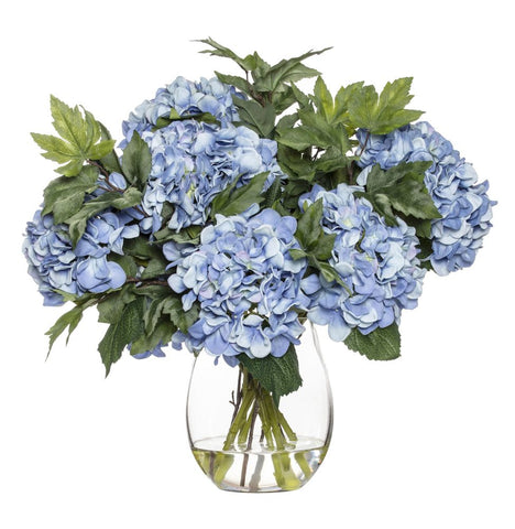 Hydrangea Maple Leaf Mix in Claire Vase Blue