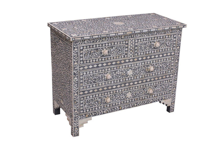 Musi Florentine Bone Inlay 4 Drawer Chest Grey