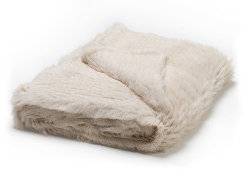 Knitted Rabbit Fur Throw Natural White
