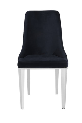 Pair of Lemante Dining Chairs Black with Silver Legs