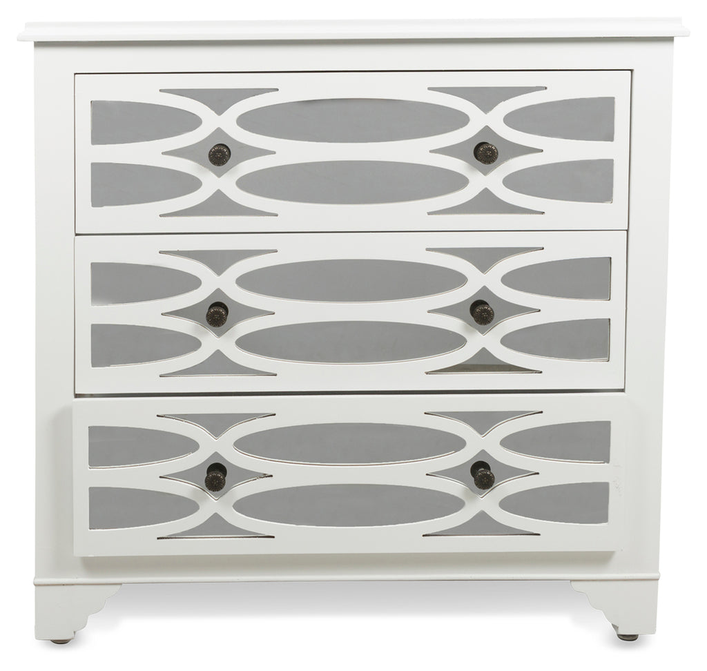 Lattice Mirrored Chest White