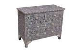 Grey and White Bone Inlay 4 Drawer Chest