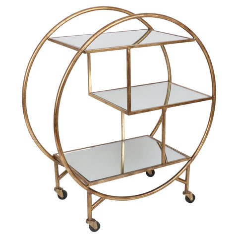 Retro Bar Trolley Antique Gold