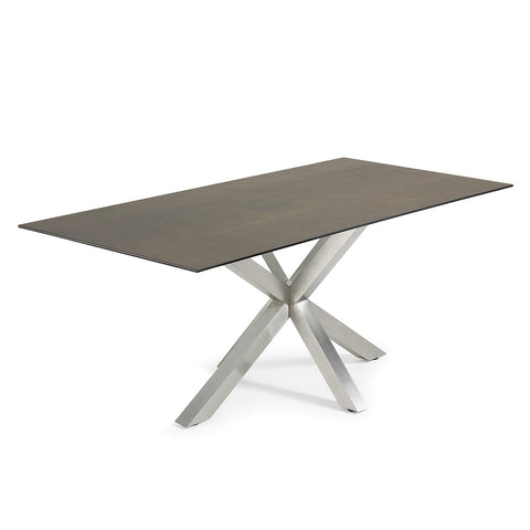 Masa Dining Table Stainless Steel Legs with Iron Moss Ceramic Top