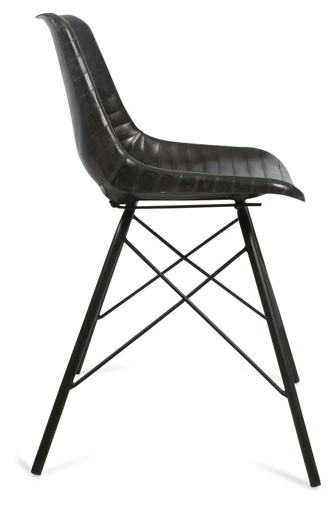 Capri Leather Dining Chair Matt Black