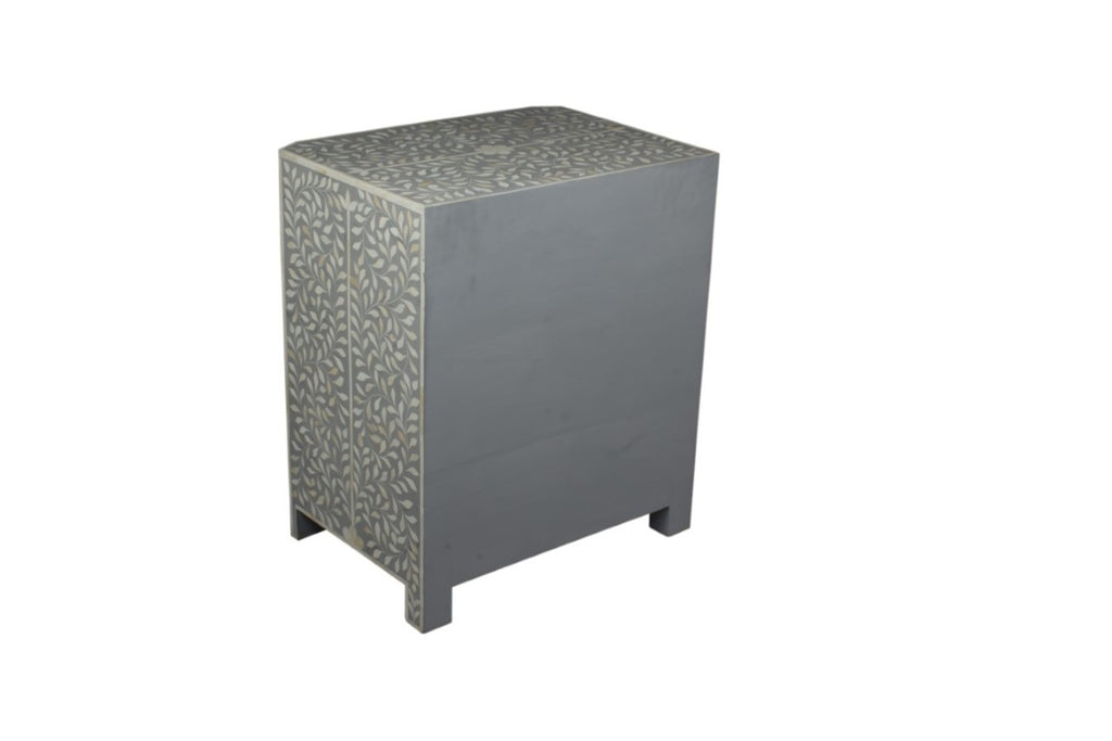 Grey and White Bone Inlay Florentine 3 Drawer Bedside Chest