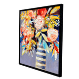 Striped Floral Framed Canvas Print