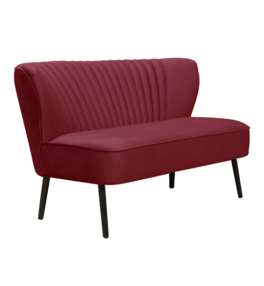Coco Two Seater Sofa Merlot with Black Legs
