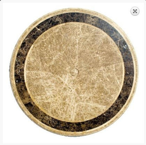 Saturn Travertine and Marble Table Round