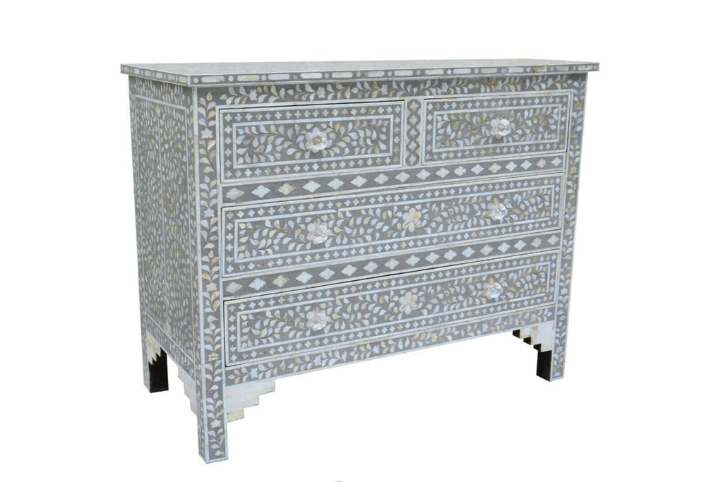 Mangalore Mother Of Pearl Inlay 4 Drawer Chest Grey