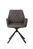 Jessye Swivel Leather Look Dining Chair Set/2