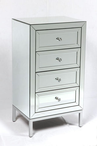 Dorset 4 Drawer Mirrored Tallboy Chest