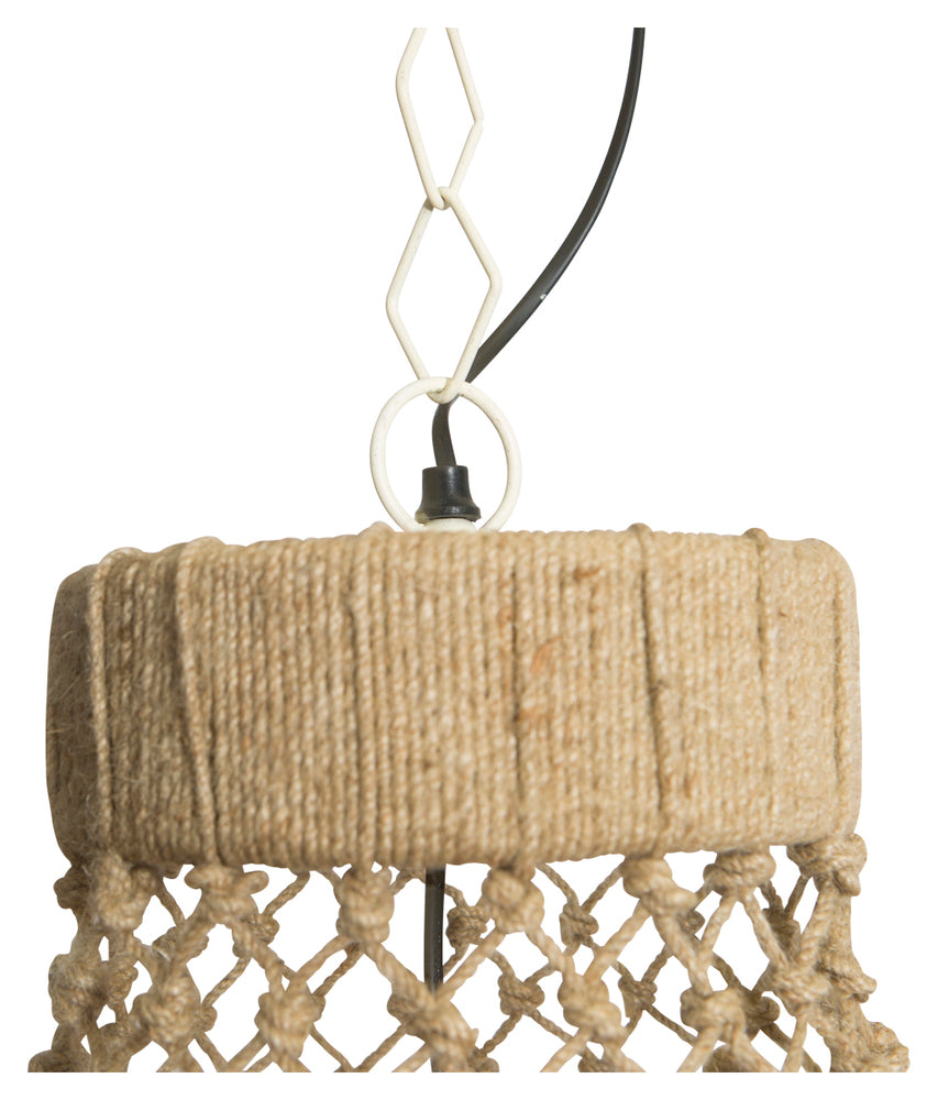 Three Tier Jute & Iron Chandelier Large
