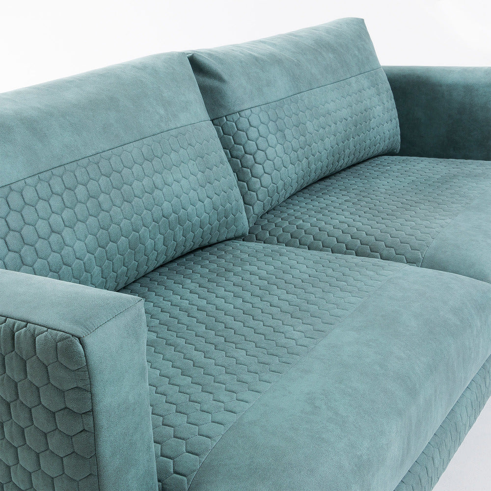 Vincent 3 Seater Sofa  Quilted Green