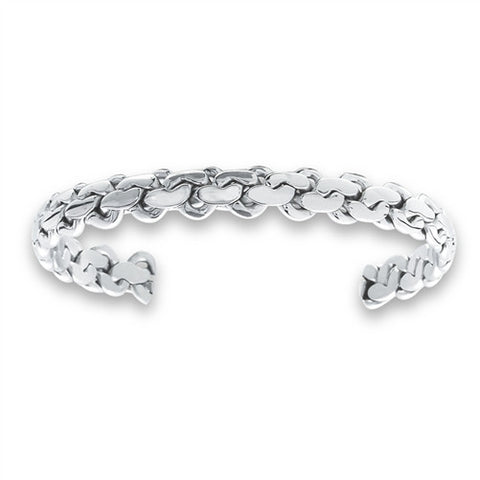 Woman's Stainless Steel Endless Knotted Cuff Bracelet