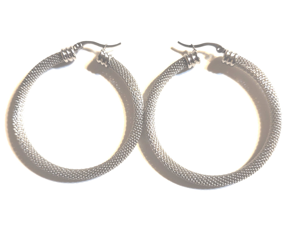 Stainless Steel Mesh Hoop Earrings