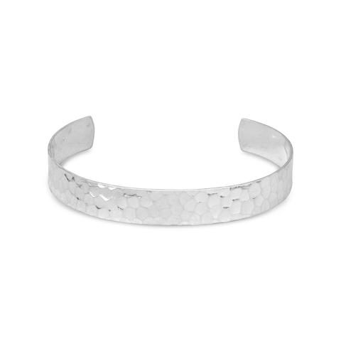 Sterling Silver 9.5mm Hammered Cuff