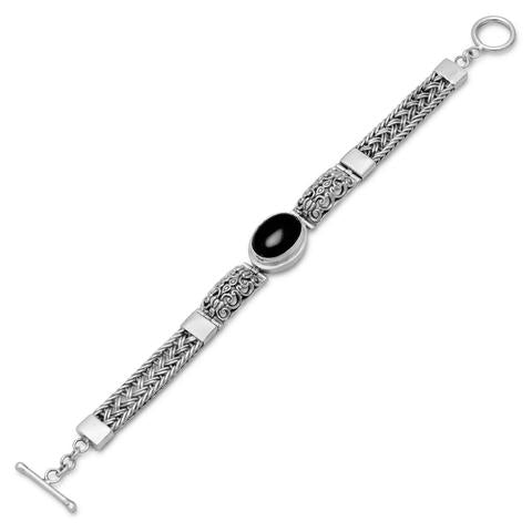 Sterling Silver Oxidized Filigree Design Toggle Bracelet with Black Onyx