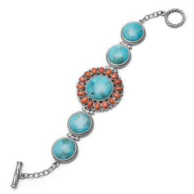 Sterling Silver Turquoise and Coral Sunburst Toggle Bracelet