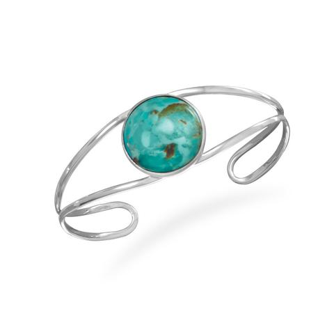 Sterling Silver Open Band Cuff Bracelet with Turquoise