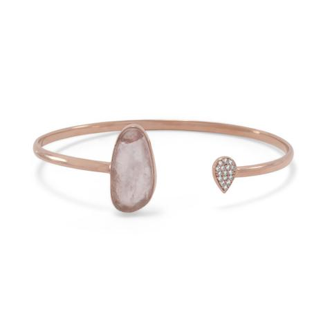 Sterling Silver  Gold Plated Rose Quartz and CZ Open Cuff Bracelet
