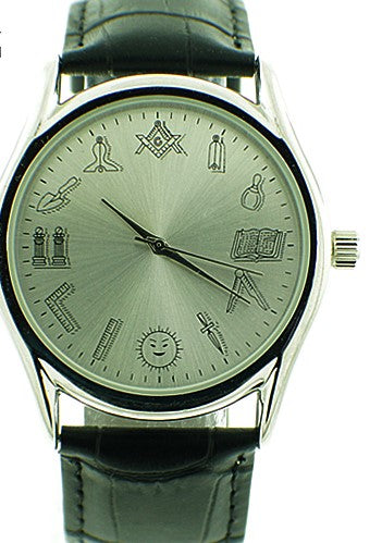 Stainless Steel Masonic Watch with Leather Band