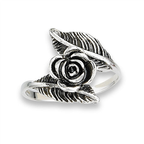 Sterling Silver Black Rose Leaf Ring