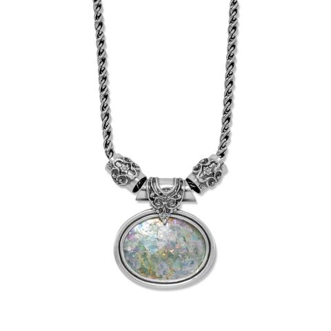Sterling Silver Large Oval Roman Glass Necklace