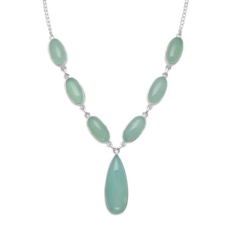 Sterling Silver Green Chalcedony Necklace