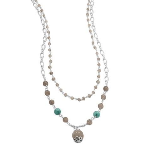Sterling Silver Baila Luna Labradorite Drop Necklace