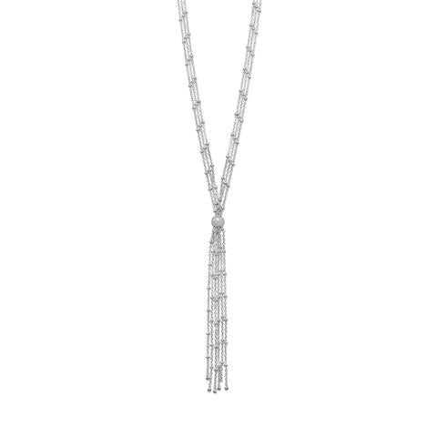 Sterling Silver Rhodium Plated Satellite Bolo Necklace