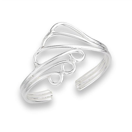 Sterling Silver Wire Wrap Swirl Toe Ring