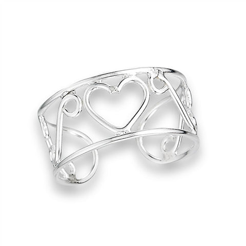 Sterling Silver Wire Wrap Heart Toe Ring