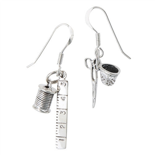 Sterling Silver Ruler, Spool, Scissors and Thimble Earrings