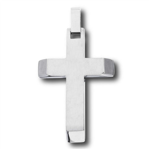 Stainless Steel Cross Pendant with Beveled High Polish Ends
