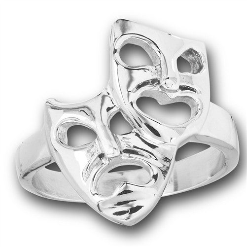 Stainless Steel Comedy Tragedy Ring