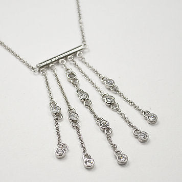 Sterling Silver Drop Stones Designer Inspired Necklace