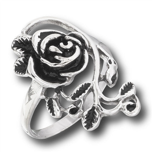 Stainless Steel Rose Ring