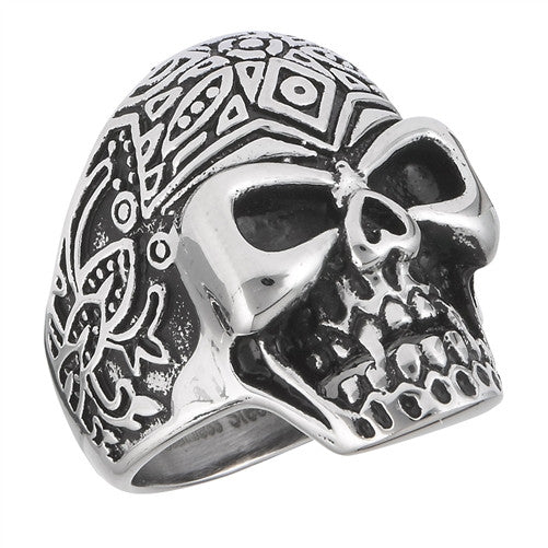 Stainless Steel Aztec Skull Ring