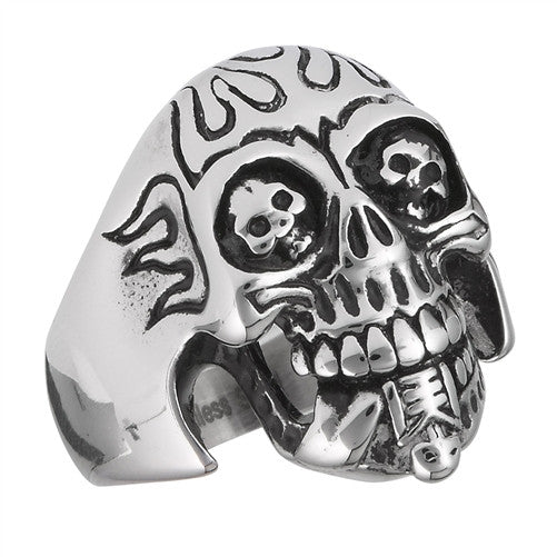 Stainless Steel Skull Eating Skeleton Ring