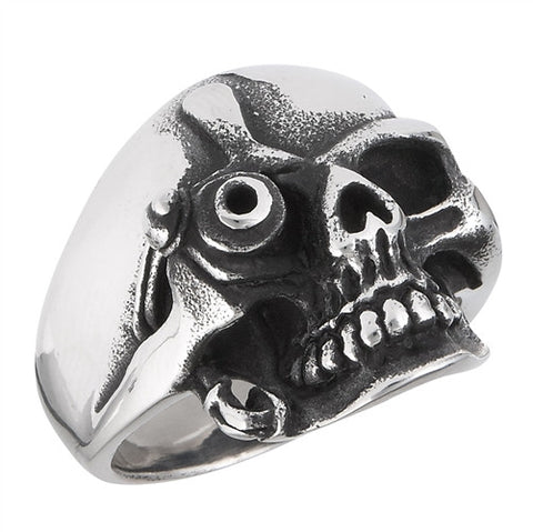 Stainless Steel One-Eye Skull Ring